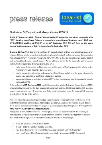 Ideal-ist and EEN organize a Brokerage Event at ICT2010 (PDF, 295 ...