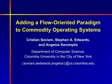 Adding a Flow-Oriented Paradigm to Commodity Operating Systems