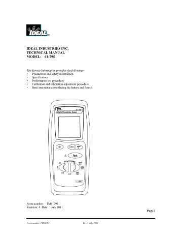61-795 Hand-held Insulation Tester Manual - Ideal Industries Inc.