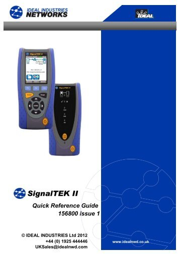 SignalTEK® II Quick Reference Guide - Ideal Industries Inc.