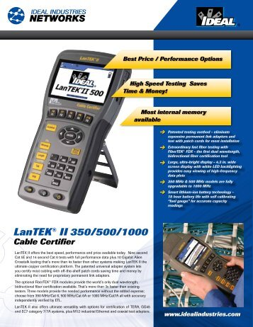 LanTEK® II Series Cable Certifier Brochure - Ideal Industries Inc.