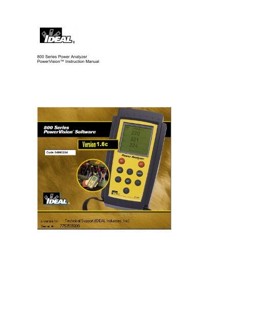 800 Series Power Analyzer PowerVision™ Instruction Manual