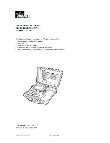 61-796 Earth Ground Resistance Tester Manual - Ideal Industries Inc.
