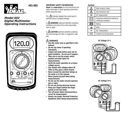 #61-602 Model 602 Digital Multimeter Operating Instructions