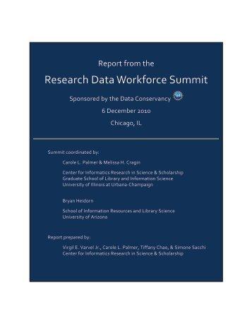 Research Data Workforce Summit Report - ideals - University of ...