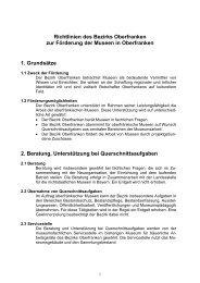 Richtlinien des Bezirks Oberfranken zur Förderung der Museen in ...