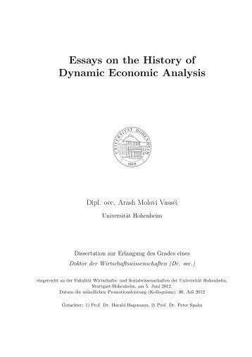 Essays on the History of Dynamic Economic Analysis - Universität ...
