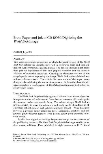 From Paper and Ink to CD-ROM: Digitizing the World Book ... - ideals