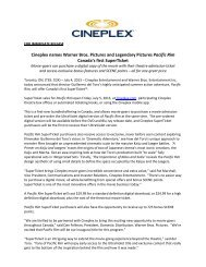 Cineplex names Warner Bros. Pictures and ... - Cineplex.com