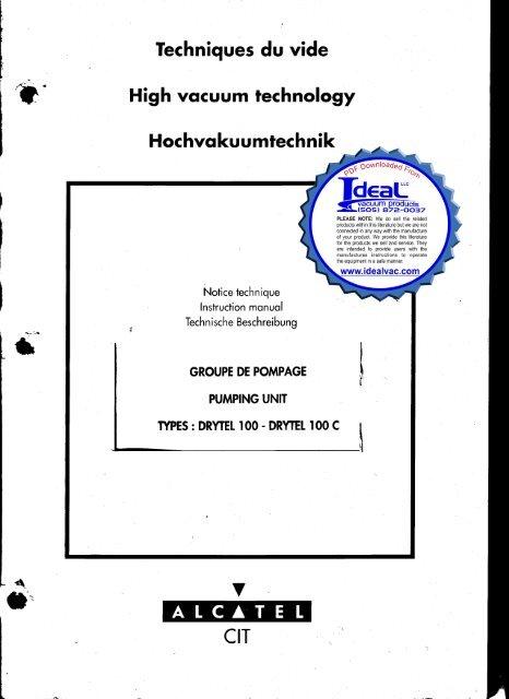 Alcatel Adixen Pfeiffer Drytel 100 Drytel 100C Instruction