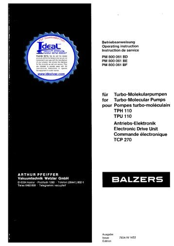 Pfeiffer Balzers TPH 110 TPU 110 Turbo Molecular Pump with ...