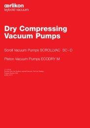 Dry Compressing Vacuum Pumps - Javac