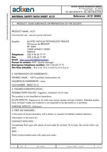 Vacuum Blower Data Sheet : Msds alcatel adixen pfeiffer a vacuum pump oil