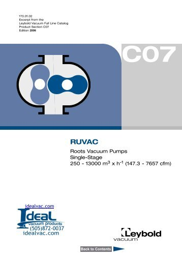 Leybold Roots Blower Vacuum Pump Catalog.pdf - Ideal Vacuum ...