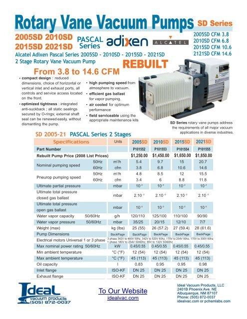 ROTARY VANE VACUUM PUMP Adixen Alcatel 2005 SD 2010