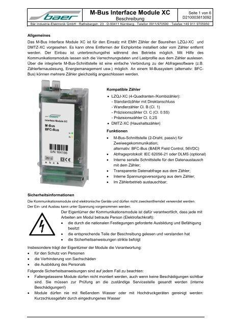 M-Bus Interface Module XC - Bär Industrie-Elektronik GmbH