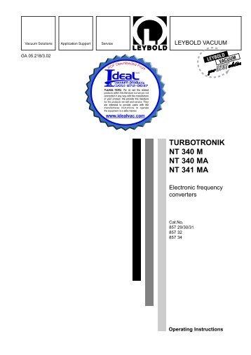 TURBOTRONIK NT 340 M, NT 340 MA, and NT - Ideal Vacuum ...