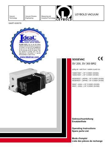 Leybold, SOGEVAC, SV200, SV300, BR2, Operating Instructions