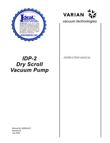 USERS MANUAL, XDS35, Dry Scroll Pump, Instruction Manual