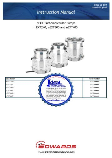 Edwards, nEXT Turbomolecular Pumps, nEXT240, nEXT300 and ...