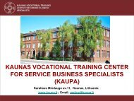 kaunas vocational training center for service business specialists