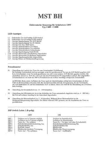 Betriebsanleitung Steuerung MSTBH - bei Berner Torantriebe