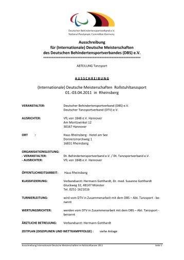 Ausschreibung für - Deutscher Rollstuhl-Sportverband e.v. DRS