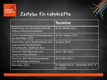 Zeitplan für Lehrkräfte - IdeenExpo