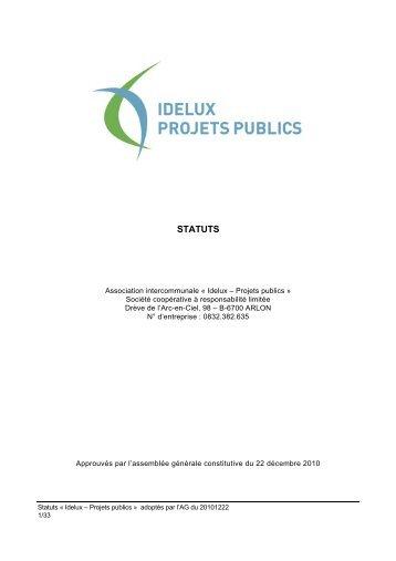 Statuts de l'Intercommunale IDELUX Projets publics (SCRL) (PDF)