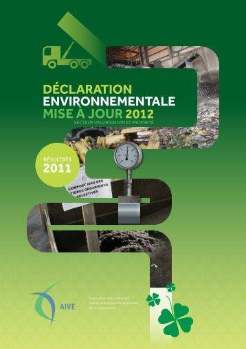 Mise à jour 2012 déclaration environnementale 2011 - Idelux