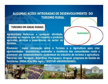 algumas ações integradas de desenvolvimento do turismo rural