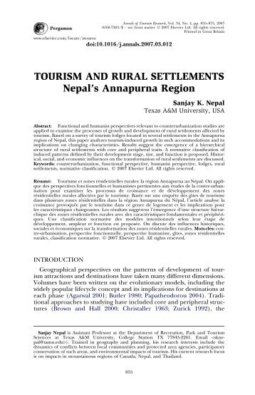 TOURISM AND RURAL SETTLEMENTS Nepal's ... - ResearchGate