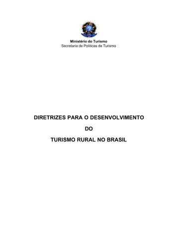 diretrizes para o desenvolvimento do turismo rural no brasil