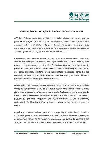 projeto ordenamento turismo equestre brasil - IDESTUR - Instituto ...
