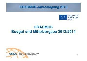 ERASMUS im Hochschuljahr 2013/2014 in Deutschland - eu-DAAD