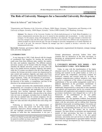 The Role of University Managers for a ... - Bentham Science