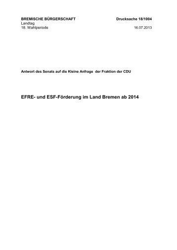 EFRE- und ESF-Förderung im Land Bremen ab 2014 - Bremische ...