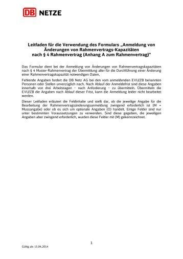 Leitfaden Formular Anhang A zum Rahmenvertrag ... - DB Netz AG