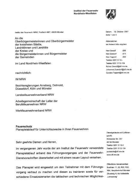 Anschreiben Institut Der Feuerwehr Nordrhein Westfalen