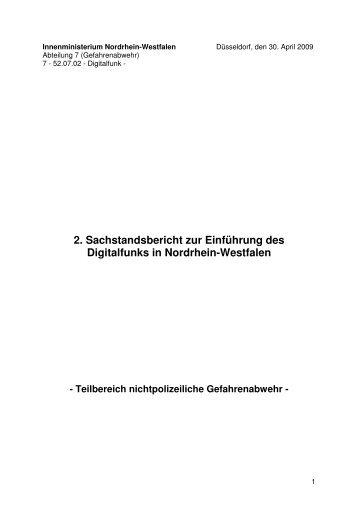 2. Sachstandsbericht zur Einführung des Digitalfunks in Nordrhein