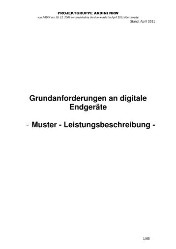 Grundanforderungen an digitale Endgeräte - Muster - Institut der ...
