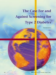 The Case For and Against Screening for Type 2 Diabetes
