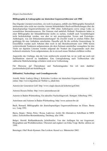 Bibliographie & Linkographie zur deutschen - IDF - Ruprecht-Karls ...