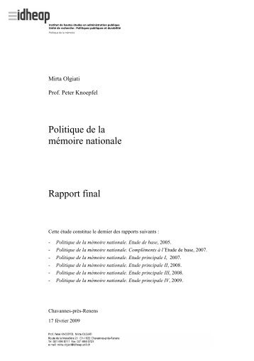 Politique de la mémoire nationale Rapport final - IDHEAP