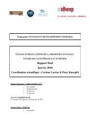 Rapport final - Programme Paysage Développement Durable