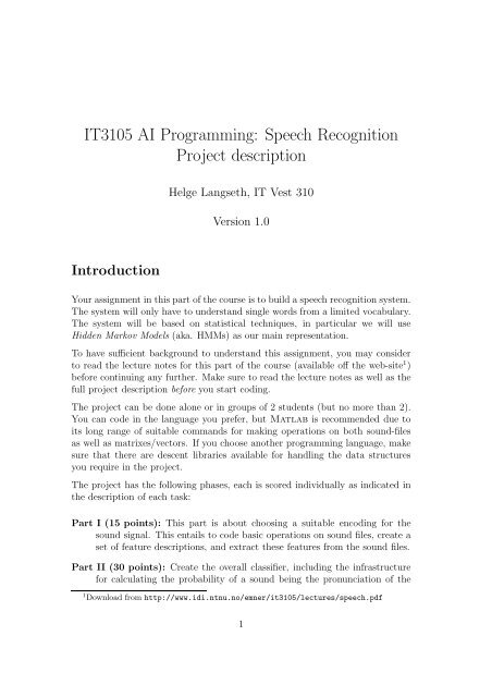 IT3105 AI Programming: Speech Recognition Project     - NTNU
