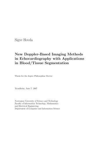 New Doppler-Based Imaging Methods in Echocardiography with ...