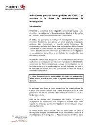 Indicaciones para los investigadores del IDIBELL en relación a la ...