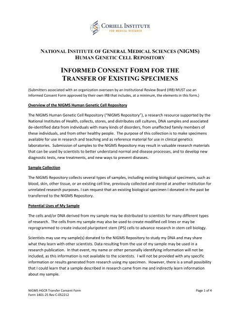 INFORMED CONSENT FORM FOR THE TRANSFER OF EXISTING