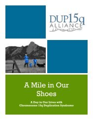 A Mile in Our Shoes - Dup15q Alliance